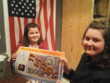 Doering sisters with one of the prizes